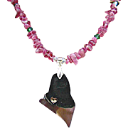 State of Maine Charm Pendant with Pink Tourmaline Chips Necklace