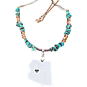 State of Arizona Charm Pendant with Blue Dyed and Stabilized Turquoise Chips Necklace