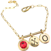 Romantic X and O Charm with Siam Swarovski Crystal Charm Bracelet