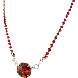 Red Preciosa Crystal Chain Necklace and Swarovski Solaris Crystal Pendant