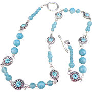 Medallions with Turquoise Rhinestone and Apatite Gemstones Necklace and Earrings