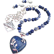 A Blue Lapis Lazuli Heart Pendant and Gemstones Necklace and Earrings