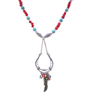 Native American Style Spirit Pendant with Chinese Stabilized Turquoise and Dyed Red Coral Necklace