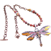 Enameled and Rhinestone Dragonfly and Matte Red Agate Necklace