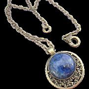 Round Lapis Lazuli Pendant and Brass Necklace
