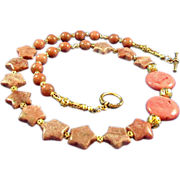 Star and Round Rhodonite with Gold Colored Beads Necklace