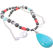 Chinese Stabilized Puff Turquoise Pendant with Dyed Red Coral and Black Obsidian Gemstones Necklace