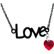 A Black Love Pendant with Swarovski Crystal Pave Hearts Necklace
