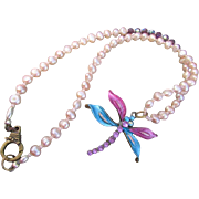 A Rhinestone Studded Brass Dragonfly with Cultured Freshwater Rice Pearl Necklace