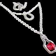 Austrian Crystal Drift Bottle Pendant and Horseshoe Charm Necklace