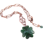Swarovski Crystal Dark Moss Green Clover Pendant and Infinity Copper Embellishment Necklace