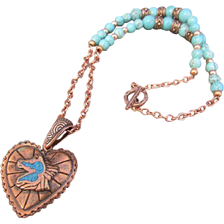Copper Heart with Horse Profile Pendant and Dyed & Stabilized Turquoise Necklace