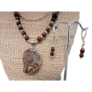 Ammonite Pendant with Mahogany Obsidian Necklace and Earrings