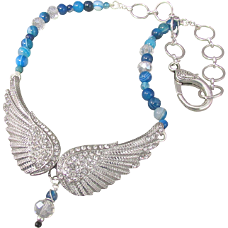 Angel Wing Rhinestone Studded Choker Necklace and Earrings