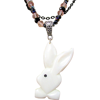 White Shell Bunny Rabbit Pendant and Crystal Handmade Necklace