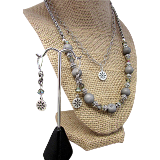 Handmade Platinum Colored Druzy Agate Bead Double Strand Necklace Set