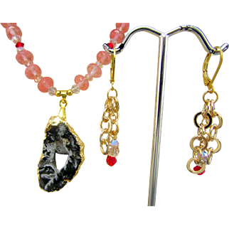 Handmade Pink Tourmaline and Druzy Geode Pendant Necklace and Earrings