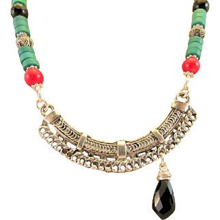 Southwestern Style Stabilized Turquoise, Coral and Onyx Gemstone with Tibetan Focal Chakra Set