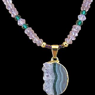 Amethyst Slice Pendant with Amethyst Gemstones and Swarovski Crystal Necklace, Sobriety Chakra