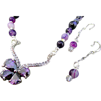 Purple Cubic Zirconia Butterfly and Purple Striped Agate Necklace and Earrings