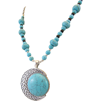 Blue Dyed Howlite Cabochon and Howlite Rondelle Gemstone Southwestern Style Necklace, Stress Relieving Chakra