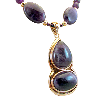 Double Amethyst Cabochon in Copper Pendant with Amethyst Gemstone Necklace, Energy Chakra
