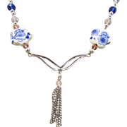 Double Chevron Link and Tassel with Blue Flower Porcelain Disc Necklace and Earrings