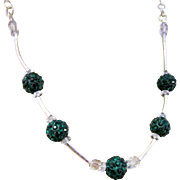Dark Green Shamballa Bead and Crystal Necklace and Earrings