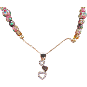 A Cascading Hearts Pendant with Cloisonne Bead Necklace and Earrings