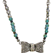 Rhinestone and Hematite Studded Bowtie and Crystal Necklace and Earrings