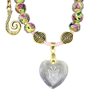 Crystal Heart Intaglio Butterfly Pendant and Yellow Glass Rondelles Necklace and Earrings