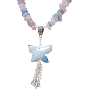 Morganite Chips with a Stone Butterfly Pendant and Tassel Necklace and Earrings