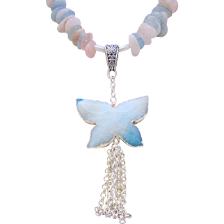 Morganite Pastel Chip Butterfly Necklace, Butterfly Natural Stone Pendant, Tassel Necklace Set