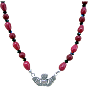 Claddagh Focal and Dyed Ruby Jade Gemstones and Earrings