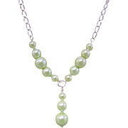 A Green Glass Faux Pearl Necklace and Earrings