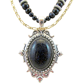 Blue Goldstone Pendant and Round Rondelle and Heart Gemstone Necklace and Earrings, Blue Necklace