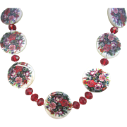 Mother of Pearl Discs with Red Flower Designs Choker Necklace and Earrings