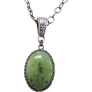 Green Serpentine Pendant and Green Variegated Agate Necklace and Earrings