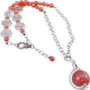 Mermaid with Carnelian Pendant and Carnelian Gemstone Necklace and Earrings