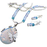 Blue Opalite and Butterfly Teardrop Pendant and Opalite Gemstones Necklace and Earrings