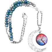 A Tree of Life Glass Dome Pendant with Faceted Glass Rondelles Necklace and Earrings
