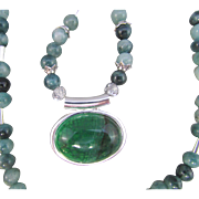 Green Agate Pendant and Sea Green Jade Necklace and Earrings