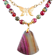 Druzy Geode with Multi Dragon Vein Gemstones and Stamped Butterfly Charm Necklace and Earrings