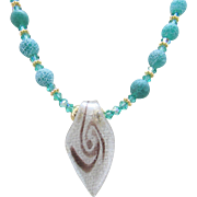 Glass Pendant with Matte Green Agate Gemstones Necklace and Earrings