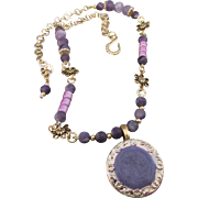 OOAK Gold Tone Pendant and Matte Purple Agate Necklace and Earrings