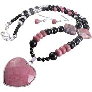 Rhodonite Heart Pendant with Obsidian and Rhodonite Gemstones Necklace and Earrings