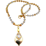 Teardrop Rhinestone Pendant with Austrian Crystal Necklace and Earrings