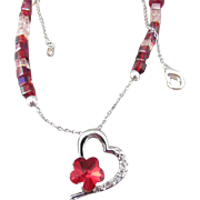 Heart with Austrian Crystal Pendant, Red and Pink Glass Beads Necklace and Earrings