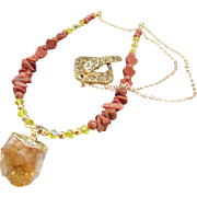 Natural Point Citrine and Gold Stone Necklace and Earrings