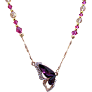 A Violet Austrian Crystal Butterfly Pendant with Swarovski Crystal Necklace and Earrings